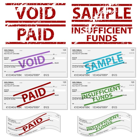 insufficient: An image of a stamped personal checks. Illustration