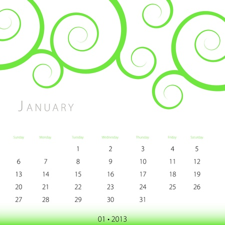 An image of a January 2013 calendar. Vector