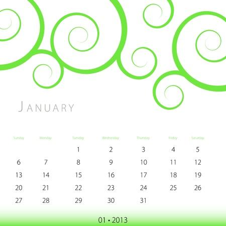 An image of a January 2013 calendar. Stock Vector - 12773989