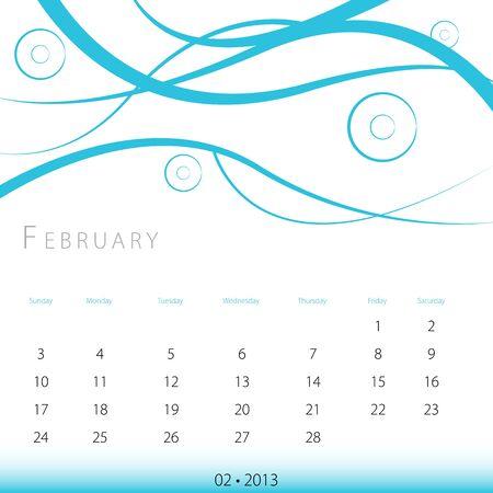 An image of a February 2013 calendar. Stock Vector - 12773988