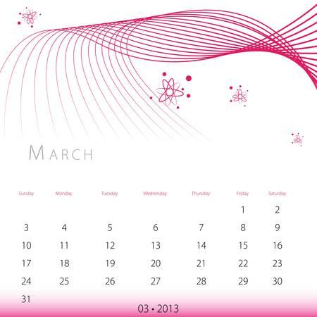 An image of a March 2013 calendar. Stock Vector - 12774010
