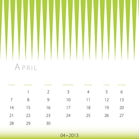 2013 년 4 월 달력의 이미지.