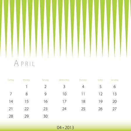 An image of a April 2013 calendar. Stock Vector - 12773986
