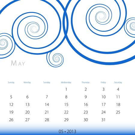 An image of a May 2013 calendar. Stock Vector - 12773992
