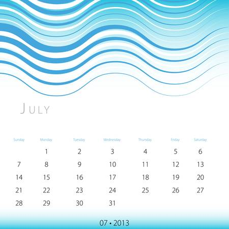 An image of a July 2013 calendar. Stock Vector - 12773997
