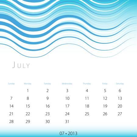 An image of a July 2013 calendar. Stock Vector - 12773997