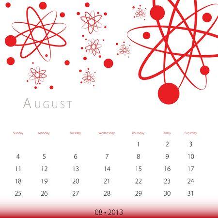 2013 年 8 月のカレンダーのイメージ。