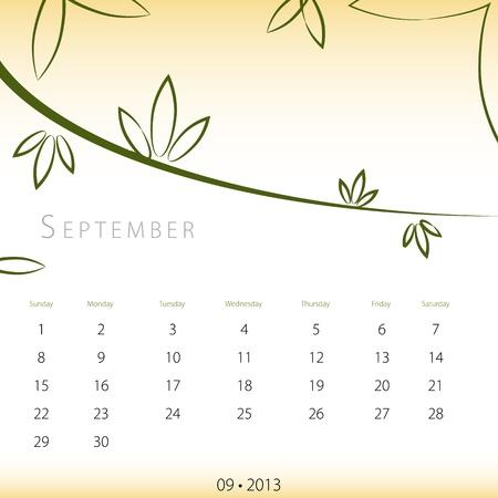An image of a September 2013 calendar. Stock Vector - 12773993