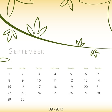 An image of a September 2013 calendar. Stock Vector - 12773993