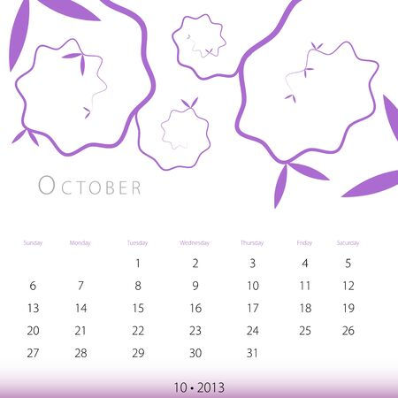 An image of a October 2013 calendar. Vector