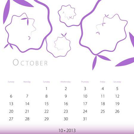 An image of a October 2013 calendar. Stock Vector - 12773995