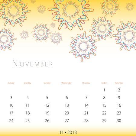 An image of a November 2013 calendar. Stock Vector - 12774028