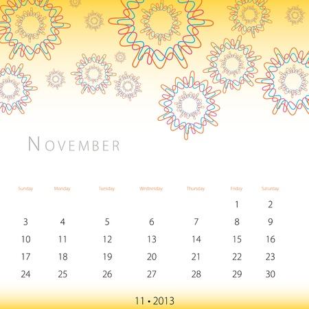 An image of a November 2013 calendar. Vector