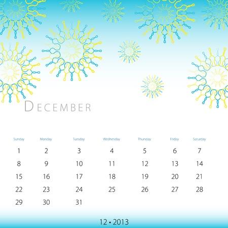 An image of a December 2013 calendar. Stock Vector - 12774029