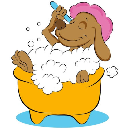 An image of a dog taking a bubble bath. Ilustracja