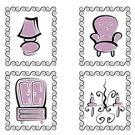 ladenkast: Een afbeelding van een mooie lamp, stoel, dressoir, en kroonluchter meubels set.