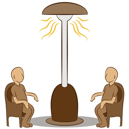 patio chair: An image of a people sitting under a lamp heater.