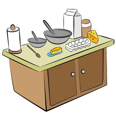 부엌 섬에 요리 도구와 재료의 이미지.