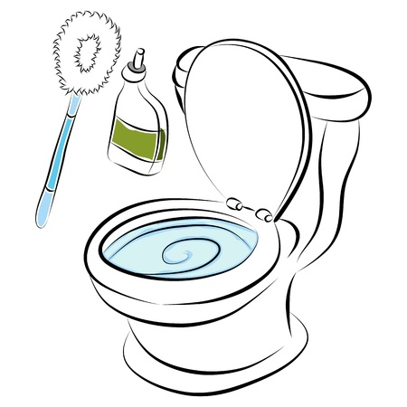cartoon toilet: An image of a toilet bowl cleaning tools.