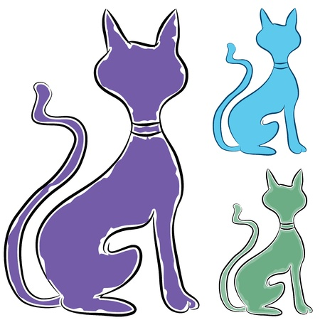 An image of a slinky cat profile. Illustration