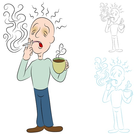 흡연자: 커피와 담배 아픈 남자의 이미지. 일러스트