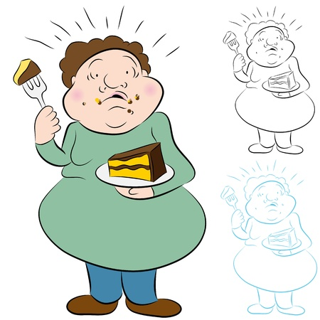 An image of a man worried over eating too much cake. Vector