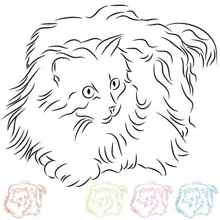 black and white line drawing: An image of a long haired ragdoll cat.