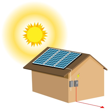 An image of a residential solar panel system. Vector