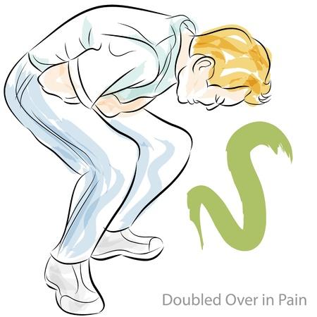 животик: Образ человека согнулся боли в желудке.