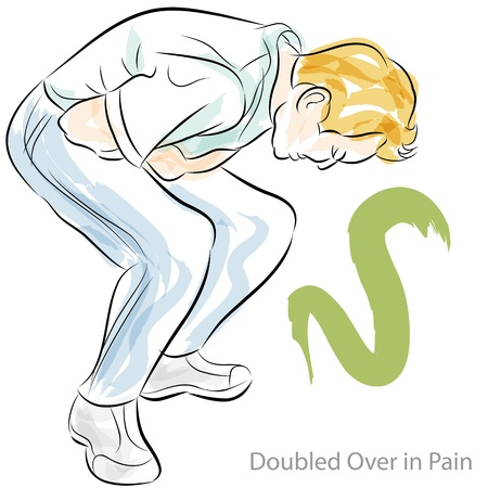 An image of a man doubled over in stomach pain. Vector