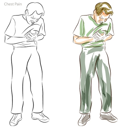 An image of a man having chest pains.