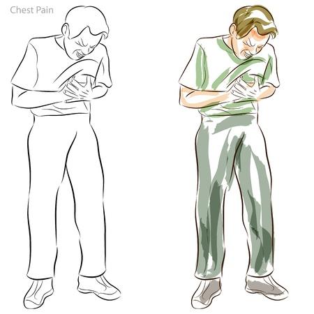 ataque cardiaco: Una imagen de un hombre que tiene dolores en el pecho.