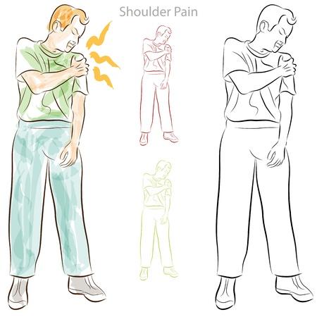 어깨 통증을 가진 남자의 이미지. 일러스트