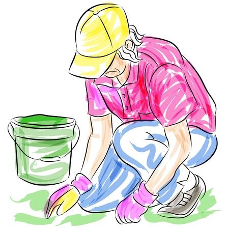 woman gardening: An image of a gardening senior woman. Illustration