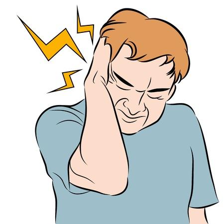 dolor de oido: Una imagen de un hombre con un dolor de cabeza.