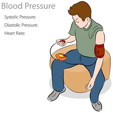 Una imagen de un hombre tomando una prueba de la presión arterial. Ilustración de vector