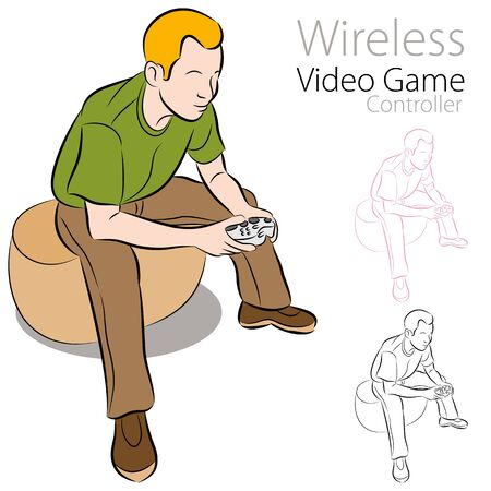 An image of a holding a wireless video game controller. Vector