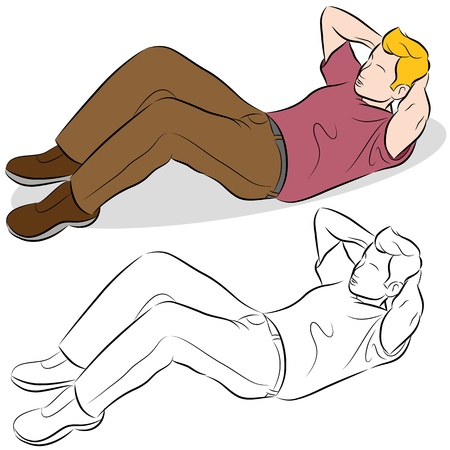 situp: An image of a man doing sit-up excercises.