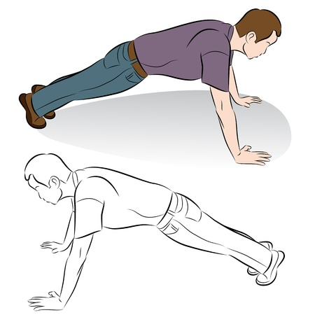 young man jeans: An image of a man doing push-up exercises.