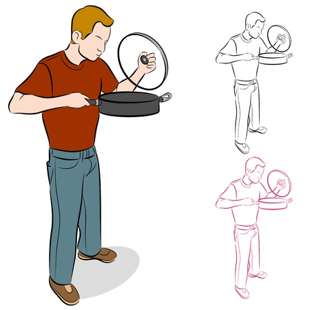 An image of a man lifting the lid off a large cooking pan.