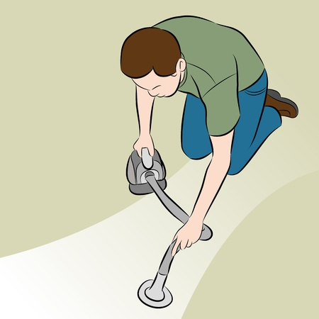 An image of a man using a handheld vacuum cleaner. Illustration