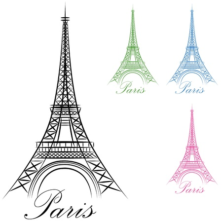 tower: An image of a Paris Eiffel Tower Icon. Illustration