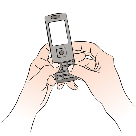 An image of a hands texting on a cell phone. Vector