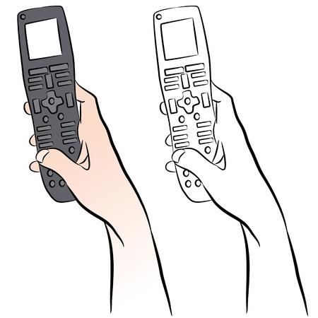 tv remote: Изображение руки, держащей универсальный пульт ДУ. Иллюстрация