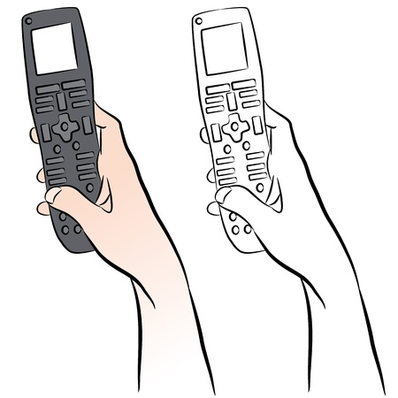 An image of a hand holding a universal remote control.