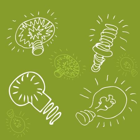 An image of a green energy light bulb drawing. Ilustração