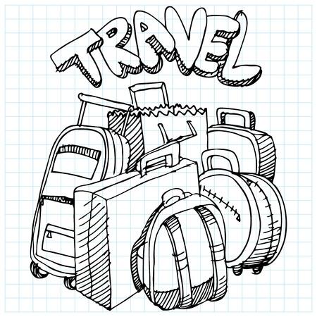 여행 가방 드로잉의 이미지입니다. 일러스트