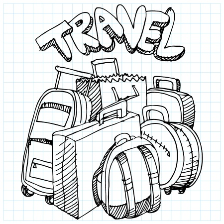 An image of a travel bag drawing. Vector