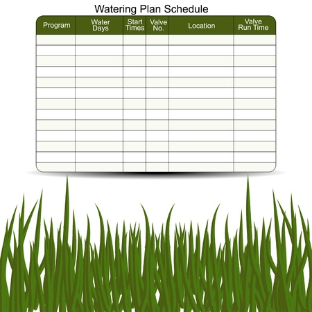 sprinklers: An image of a waterung schedule chart. Illustration