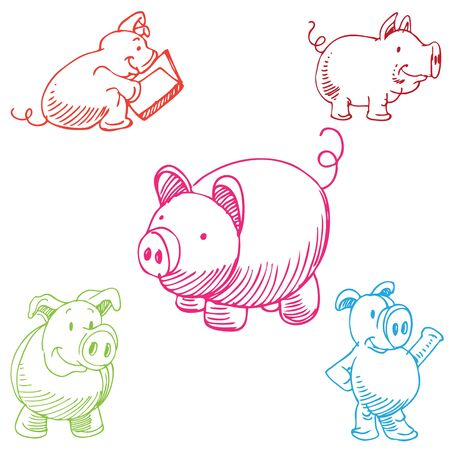 An image of a cartoon pig set. Vector